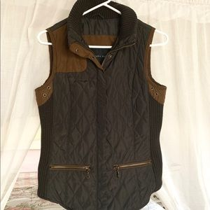 Zara Olive Green Quilted Vest Size M